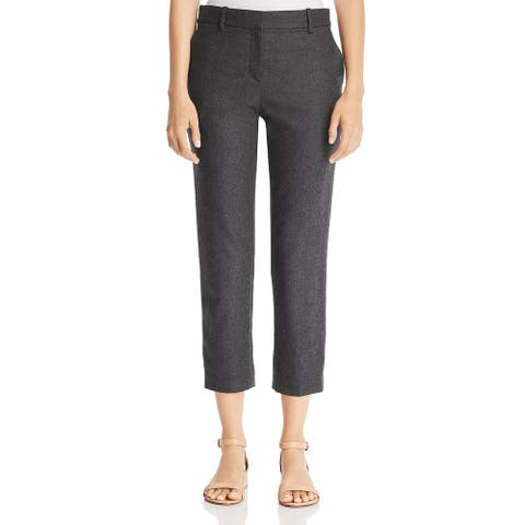 Theory Womens Treeca 2 Cropped Pants Office High Rise - Dark Charcoal