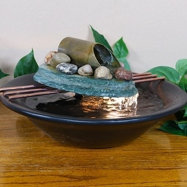 Sunnydaze Soothing Balance Slate Tabletop Water Fountain with LED Light, 7 Inch