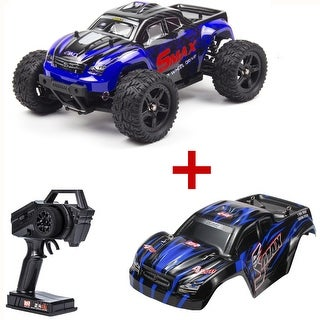 REMO 1/16 Scale RC Bigfoot Truck 4WD Remote Control Car Off-Road Vehicle with Extral Car Shell Blue/Red Gift (Blue)