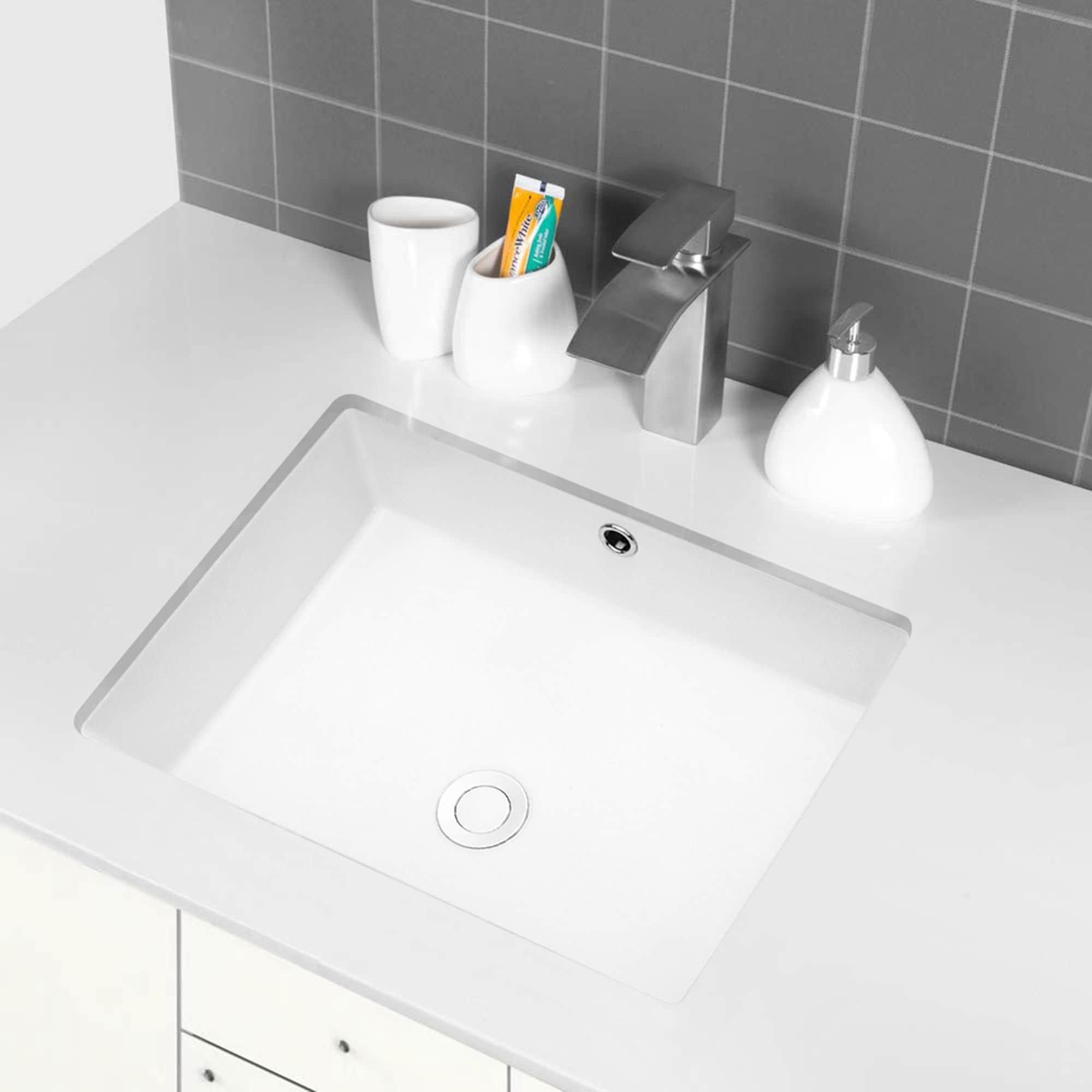 White Rectangular Undermount Bathroom Sink With Overflow Overstock 31636124