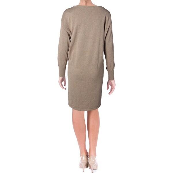 Lauren Ralph Womens Casual Dress Knit Mixed Media