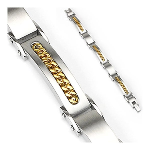 Stainless Steel Cuban Link Inlayed Bracelet (11 mm) - 9 in