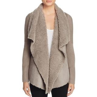 Bagatelle Womens Open-Front Blazer Faux Fur Ribbed Trim