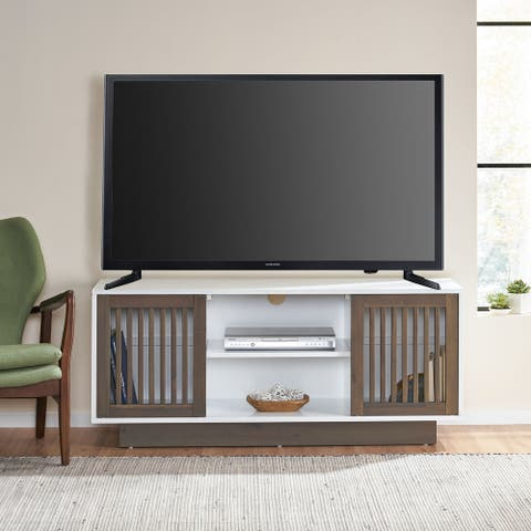"""Leverick Mid-Century Modern 2 Door TV Stand with Storage by Christopher Knight Home - 56.00"""" W x 16.00"""" D x 24.25"""" H"""