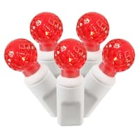 "Set of 100 Red Commercial Grade LED G12 Berry Christmas Lights 4"" Spacing - White Wire"