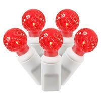 """Set of 50 Red Commercial Grade LED G12 Berry Christmas Lights 6"""" Spacing - White Wire"""