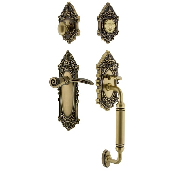 Nostalgic Warehouse VICSWN_ESET_234_CG_RH Victorian Right Handed Sectional Single Cylinder Keyed Entry Handleset with C Grip
