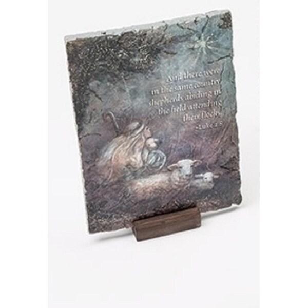 "7"" Inspirational ""Away in the Manger"" Shepherd Religious Christmas Decorative Plaque"