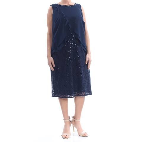 SLNY Navy Sleeveless Knee Length Shift Dress Size 14W
