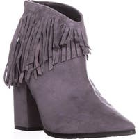 Kenneth Cole REACTION Pull Ashore Fringe Ankle Booties, Charcoal - 8.5 us / 39.5 eu