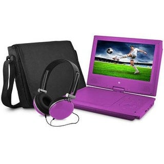 Ematic Epd909pr Swivel Purple Portable Dvd Player W/ Matching Headphones & Bag