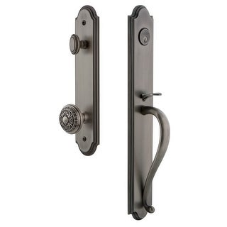 "Grandeur ARCSGRWIN_ESET_234  Arc Solid Brass Rose Keyed Entry Single Cylinder Full Plate ""S"" Grip Handleset with Windsor Knob"