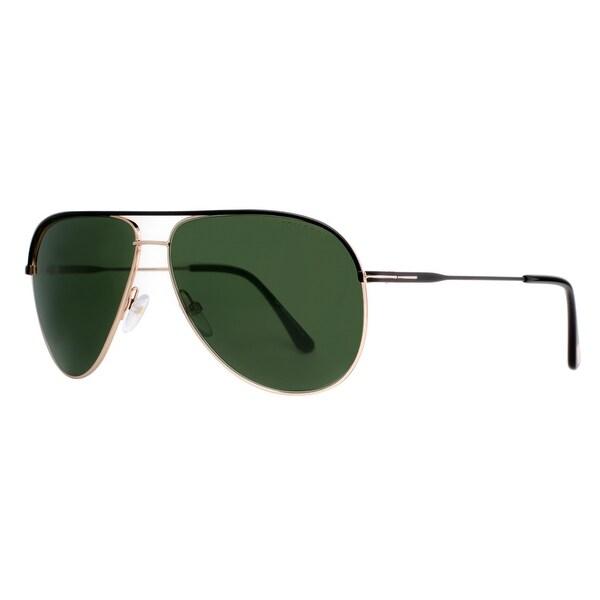 a641bb3feb Tom Ford Erin TF 466 05N Black Gold Green Aviator Sunglasses - Matte Black