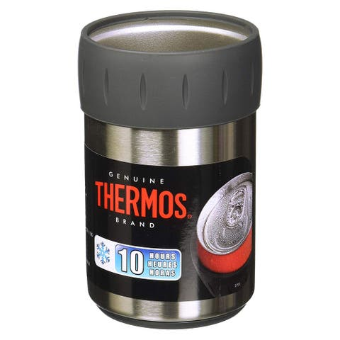 Thermos Stainless Steel Beverage Can Insulator For 12 Ounce Can, Black - 12 OZ