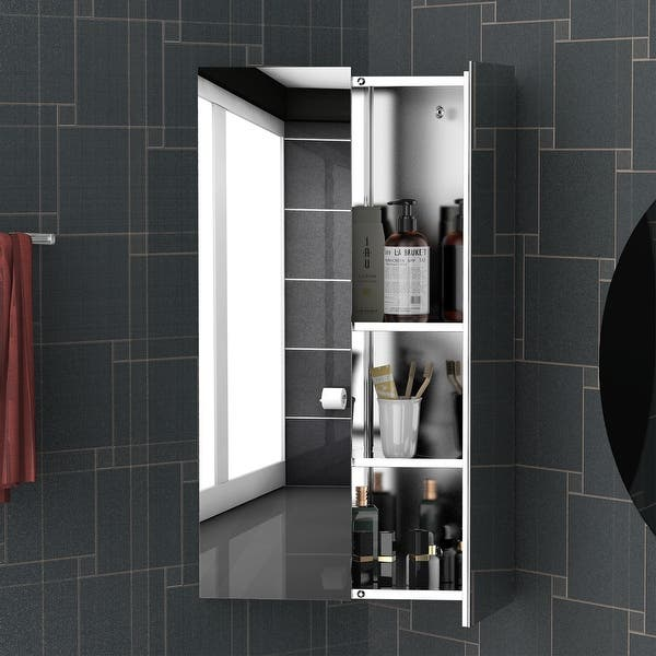 Kleankin Corner Mirror Cabinet Wall Mounted With Double Doors And 3 Shelves Multipurpose Storage Organizer For
