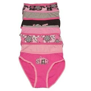 Sweet n Sassy Little Girls Pink Star Leopard Print 7 Underwear Pack