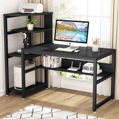 58in Large Computer Desk Home Office Desk with Shelves and Hutch
