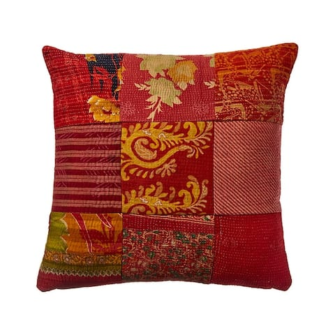 One of a Kind hand stitch OverDye Kantha Pillow Cover