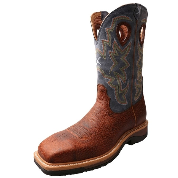 Twisted X Work Boots Mens Cowboy Lite Peanut Distressed Navy