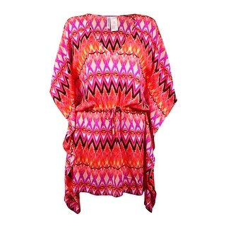 Kenneth Cole REACTION Women's V-Neck Chevron Poncho Coverup - pink glow