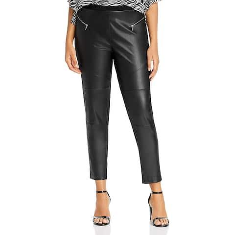 MICHAEL Michael Kors Womens Plus Leggings Faux Leather Front Dressy - Black