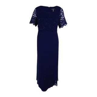 R&M Richards Women's Plus Size Sequin Lace Tiered Bodice Gown