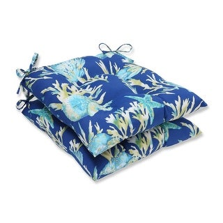 "Set of 2 19"" Blue and Green Tropical Island Decorative Outdoor Patio Seat Cushion"