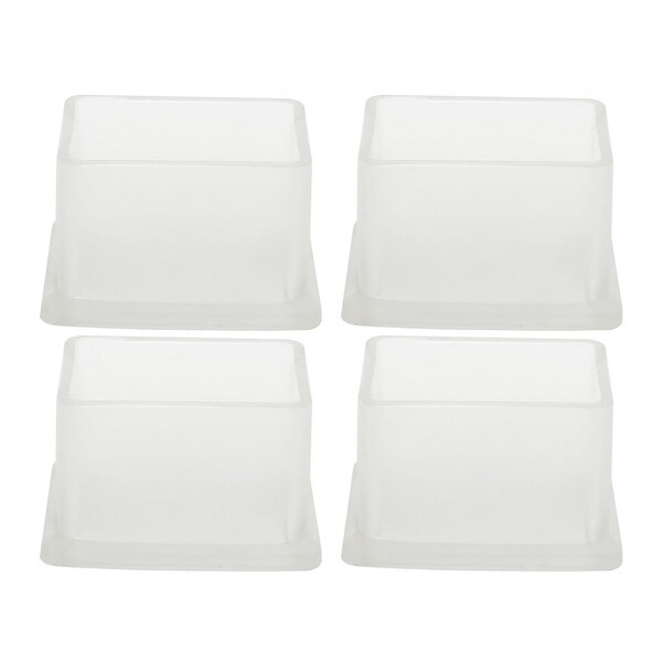 "Clear PVC Chair Leg Caps End Pad Feet Cover Furniture Slider Floor Protector 4pcs 1"" x 1.5"" (25x38mm) Inner Size"