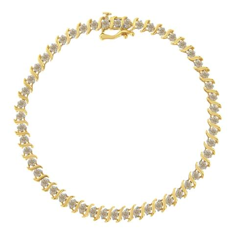 10K Yellow Gold 2.0 Cttw Diamond Alternating Wave and Round Link 7 Tennis Bracelet (J-K Color, I2-I3 Clarity)