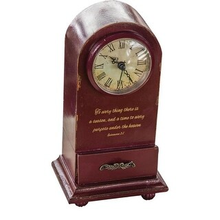 """9.25"""" Wine Red Vintage Inspirational Quote Decorative Table Clock"""