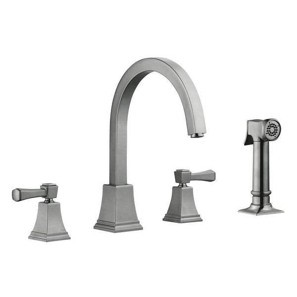 Design House 522110 Torino Double Handle Widespread Kitchen Faucet with Metal Lever Handles and Sidespray - Satin Nickel