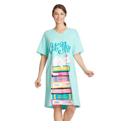 Little Blue House by Hatley Womens Cat Nap Nightshirt - Cute Sleep Shirt - One Size