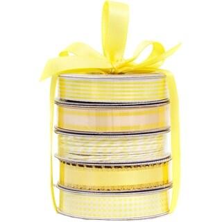American Crafts Premium Ribbon & Twine 5-Packs-Spring Yellow