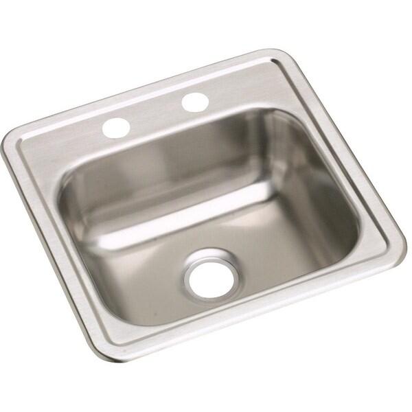 "Elkay D11515 Dayton 15"" Single Basin Drop In Stainless Steel Bar Sink - 2 Faucet Holes"
