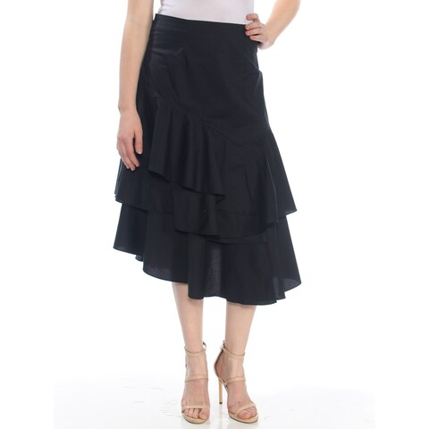VINCE CAMUTO Womens Black Ruffled Below The Knee A-Line Party Skirt Size: 10