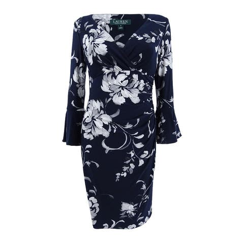 Lauren Ralph Lauren Women's Petite Floral Bell Sleeve Sheath Dress (12P, Navy) - Navy - 12P