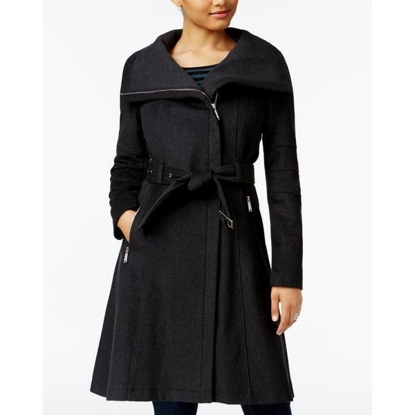 BCBGeneration Women's Charcoal Gray A-Line Belted Wool Asymmetrical Zip Coat. Opens flyout.