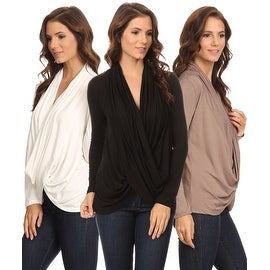 3 Pack Women's Long Sleeve Criss Cross Cardigan Small to 3XL Made in USA