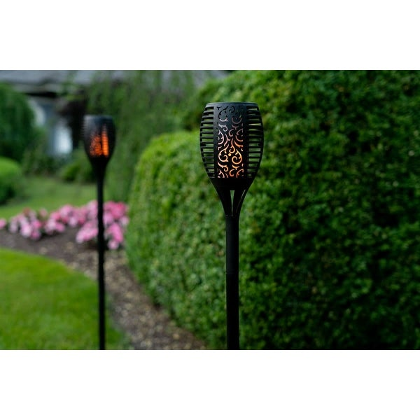 Solar Powered Flickering Tiki Torch Lights, 2 Styles - 2 or 4 Pack