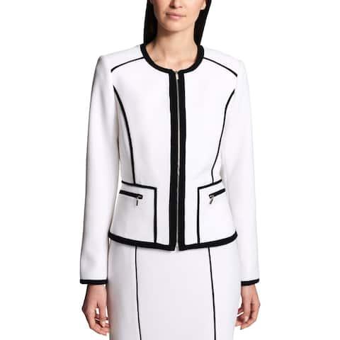 Calvin Klein Womens Collarless Blazer Zip-Front Business