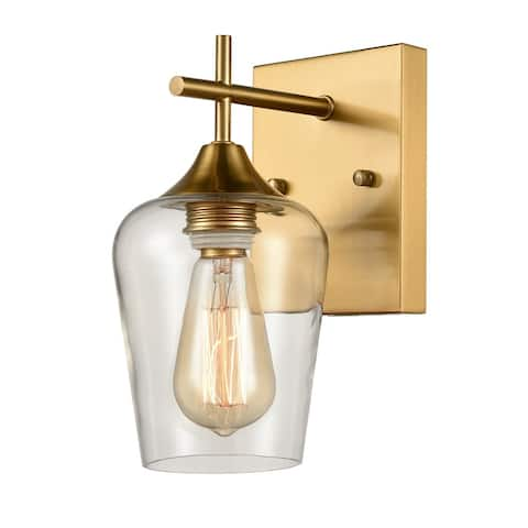 Angers Modern Simplicity 1-Light Clear Glass Wall Sconce Industrial Bathroom Vanity Lighting