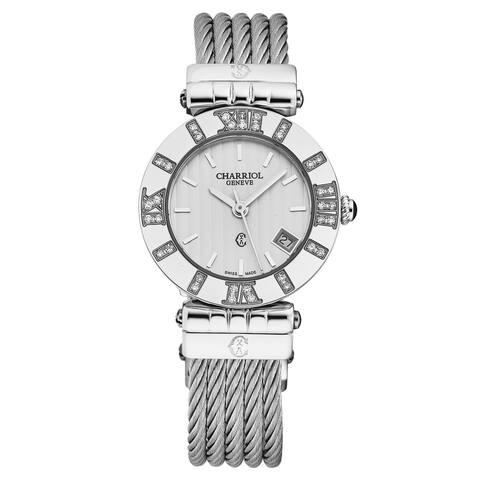 Charriol Women's ACSSD.51A.804 'Alexandre C' Silver Dial Diamond Swiss Quartz Watch
