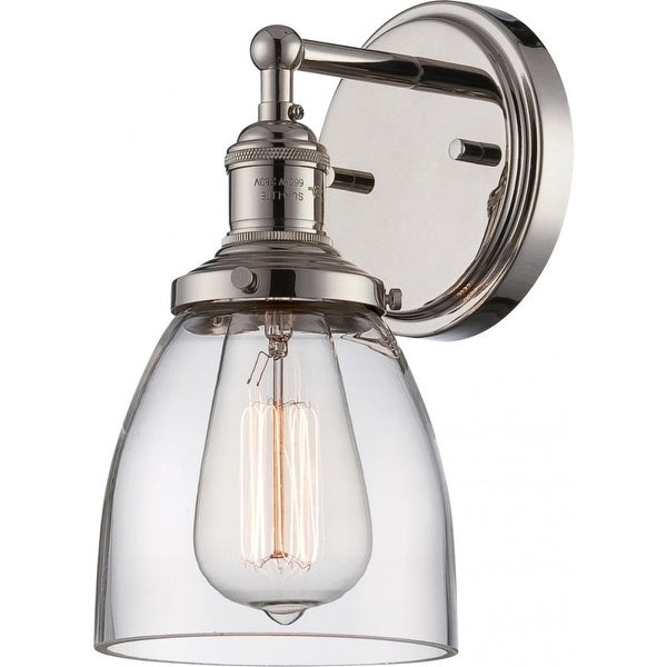"""Nuvo Lighting 60/5414 Vintage 1-Light 9-3/4"""" Tall Wall Sconce with Clear Glass Shade - Polished Nickel"""