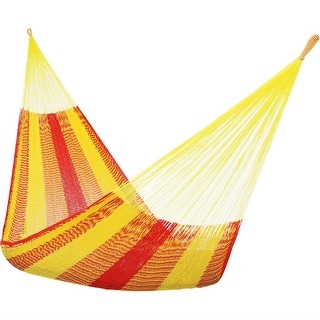 Sunnydaze Portable Hand Woven 2-Person Mayan Hammock Double Size - Tequila