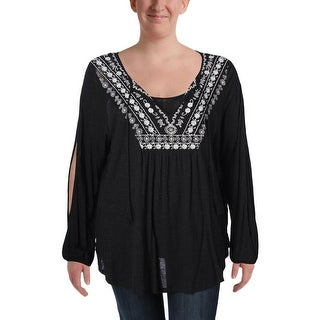 Jessica Simpson Womens Plus Frida Casual Top Embroidered Tie-Front - 3x