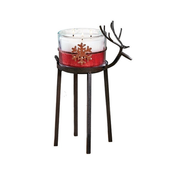 "Set of 2 Bronze Christmas Reindeer Pillar Candle Holder 12"" - Large"