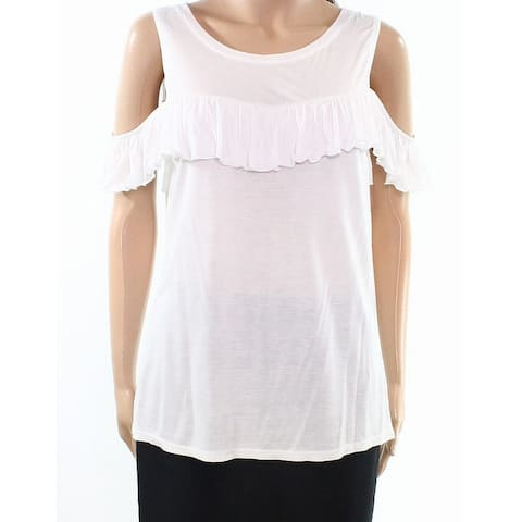 Willow & Clay White Womens Size Medium M Ruffle Cold-Shoulder Blouse