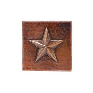 """Premier Copper Products - 4"""" x 4"""" Hammered Copper Star Tile - Quantity 4"""