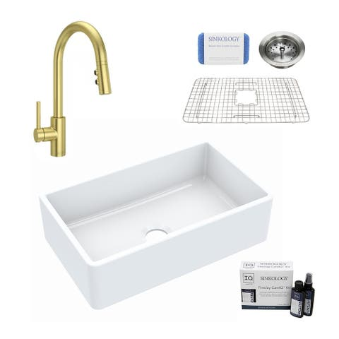 Turner All-in-One Farmhouse Fireclay 30 in. Single Bowl Kitchen Sink with Pfister Stellen Faucet in Satin Gold and Drain