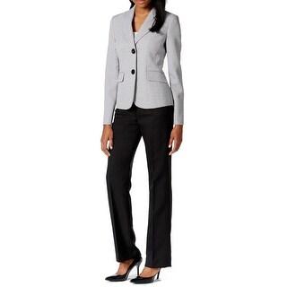 Le Suit NEW Black Women's Size 14 Two Button Tweed Jacket Pant Suit